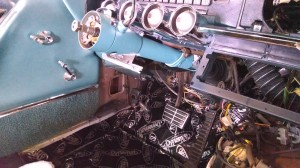 Steering column back in place. Still not an easy task.